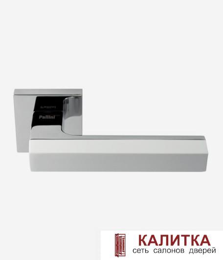 Ручка дверная Pallini на квадратном основании Дубай  PAL-Z01-S PC/White хром блестящ/бел TD185252
