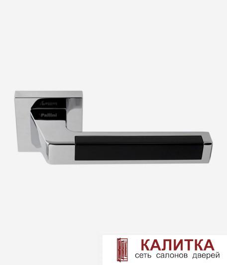 Ручка дверная Pallini на квадратном основании Лиссабон PAL-Z05-S PC/MatBlac полир.хром/черн.TD185251