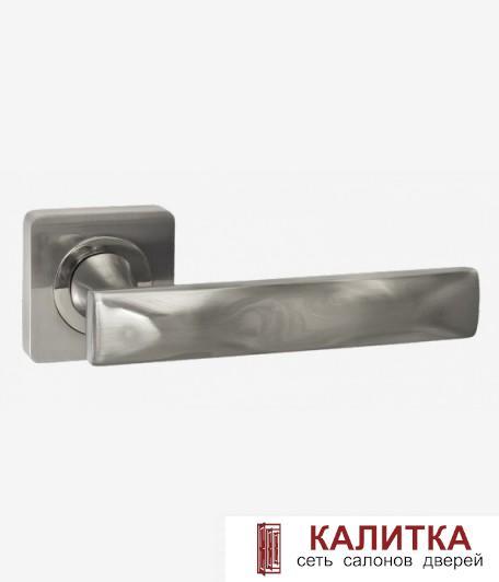 Ручка дверная RENZ на квадратном основании КОСМА DH 312-02 SN/NP мат.никель/никель блест