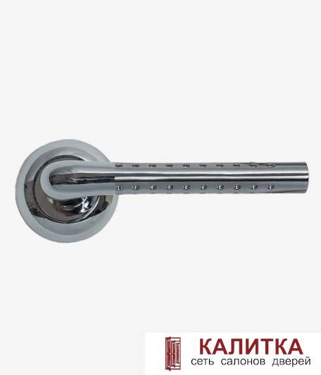 Ручка дверная  на круглом основании AL-47P (CP+SN)/CP ПЕРФОРАЦИЯ (хром+никель/хром) TD185804