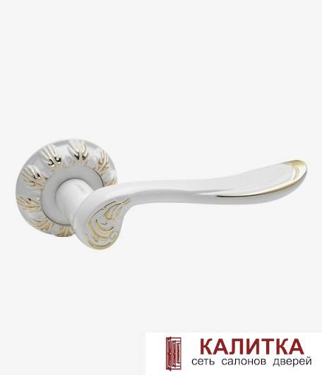 Ручка дверная  на круглом основании AL-61 (WW+PB)/WW (белый+золото/белый) TD185821R