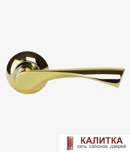 Ручка дверная  на круглом основании AL-X11 PB/CP (золото/хром) TD185801