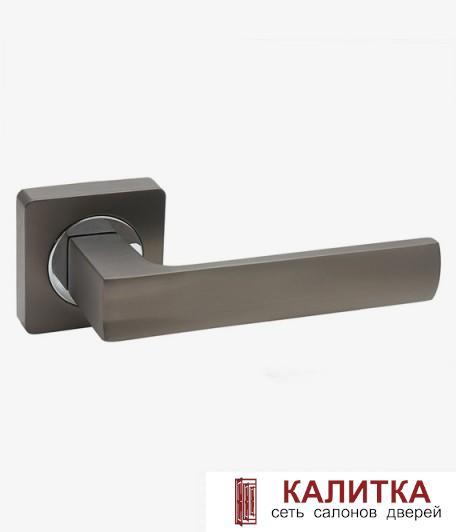 Ручка дверная  на квадратном основании AL-02-A845 BN/CP (графит глян./хром) TD185223