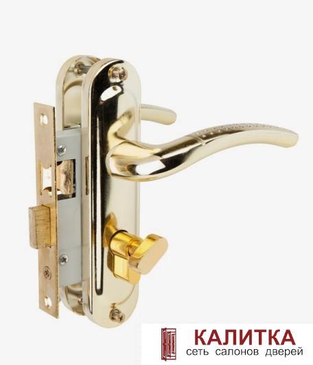 Ручка дверная  на планке в комплекте с замком 50/106 ЦМВ70 (ключ-завертка) PB (золото)