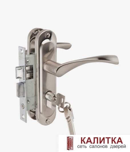 Ручка дверная  на планке в комплекте с замком 50/76-ЦМ70 (ключ-ключ) SN (никель)
