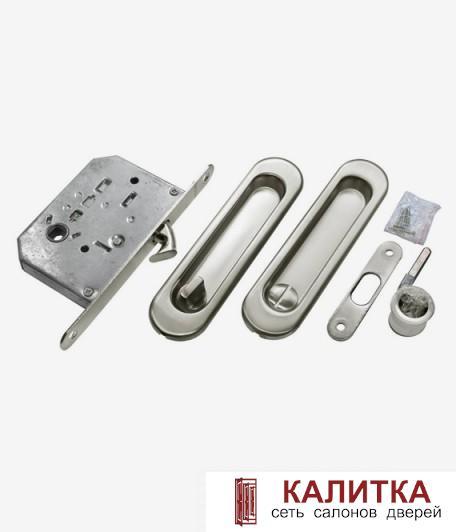 Ручки для раздвижных дверей (овал) Vantage SOL 055 WC с заверткой SN никель (2 шт)
