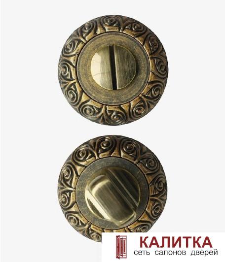 Завертка сантехническая  на круглом основании РЕЗНАЯ WC-20 ANT.BRASS (античная латунь)