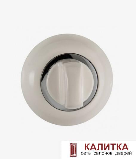 Завертка сантехническая RENZ на круглом основании BK 08 BIG W/CP (Моретти) белая/хром блестящий