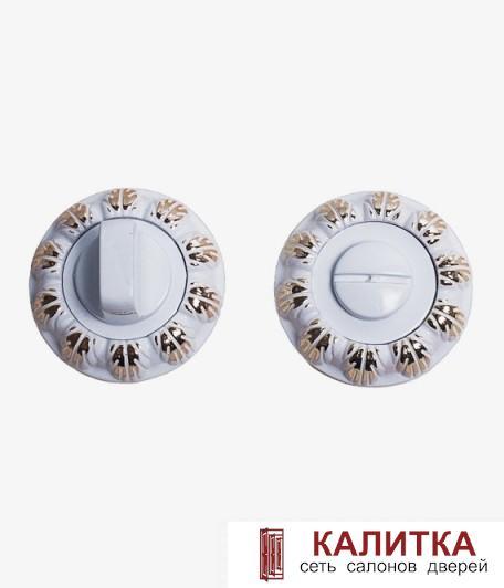 Завертка сантехническая  на круглом основании BK 04-AL (WW+PB)/WW (белый+золото/белый)